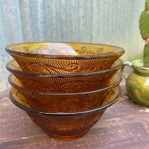 Vintage Amber Bowls, Indiana Tiara Sandwich Glass
